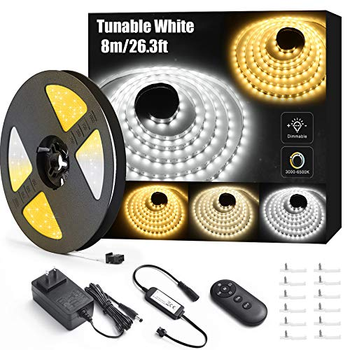 Lyhope LED Strip Lights, 26.3ft Tunable White LED Tape Lights with RF Remote, 24V Dimmable 3000K-6500K 896 LED Christmas Lights for Home Bedroom Kitchen Bar Decoration (Daylight Warm White)