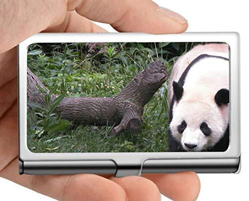 Estuche para tarjetas de visita, personas Estuche para tarjetas de visita con soporte para tarjetas de panda animales (acero inoxidable)