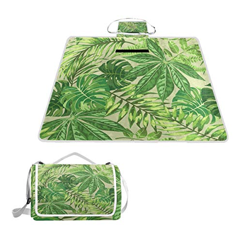 XINGAKA Picknickdecke,Grüner Blatt frischer Dschungel Aloha Druck,Outdoor Stranddecke wasserdichte sanddichte tolle Picknick Matte
