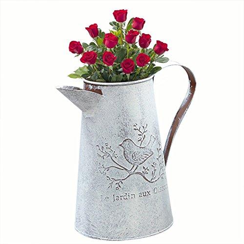 Gießkanne aus Zinn, im französischen Vintage-Stil und Used-Optik, tragbarer Blumentopf als Hochzeits- und Heimdekoration, 6.50*6.69*4.33inch