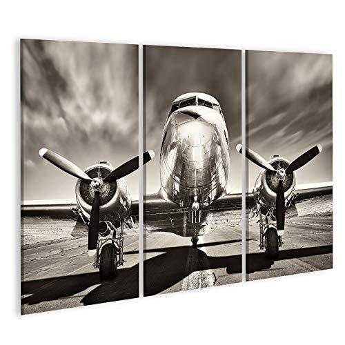 Bild Bilder auf Leinwand Retro-Flugzeug Wandbild Poster Leinwandbild Rum