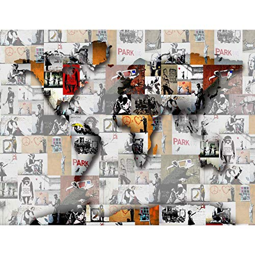 Fototapeten 396 x 280 cm Banksy Mosaik   Vlies Wanddekoration Wohnzimmer Schlafzimmer   Deutsche Manufaktur   Braun 9167012a