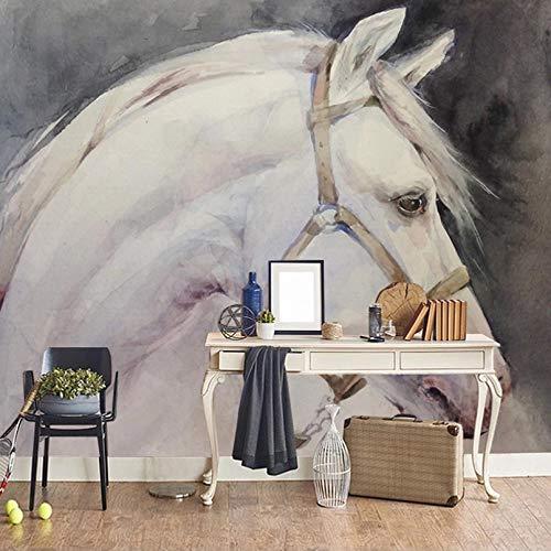 Foto HD Pintura al óleo abstracta pintada a mano Caballo blanco Mural decorativo Sala de estar Sofá Dormitorio Papel mural-200x140cm