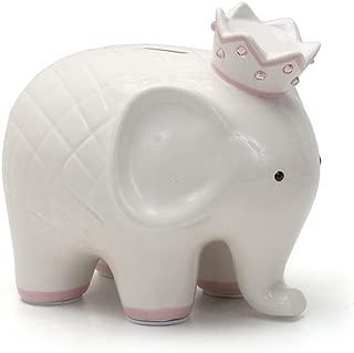 Child to Cherish Ceramic Coco Elephant Piggy Bank for Girls, Pink