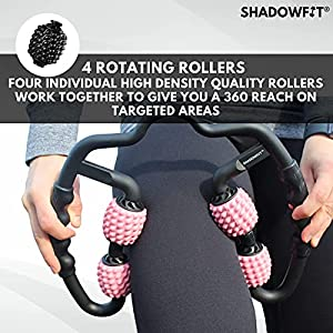 ShadowFit Lightweight Dual Angle Foam Roller Equipment for Sore Muscle, Tissues ∣ Massage Rollers for Maximum Tension Relief ∣ High Density Foam for Deep Tissue Pain Relief, Thigh, Arms…(Black)