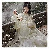 YUNGYE Mejora Hanfu Falda de manga ancha para mujer, elegante y súper hada, fresca y elegante, bordado de hadas (color, tamaño: S)