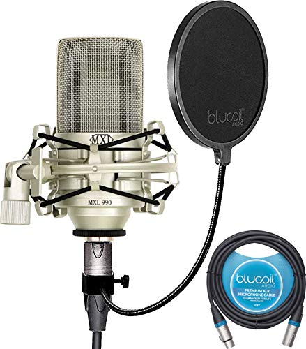 MXL 990 Condenser Microphone Bundle with MXL-90 Shockmount, MT-001 Hard Mount Mic Stand Adapter, Blucoil 10-FT Balanced XLR Cable, and Pop Filter Windscreen