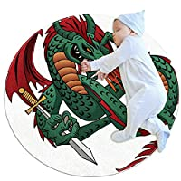 緑竜の持ち剣 子供のサークル ラグ、カーペット ブランケット マット、家族の寝室のリビング ルーム ゲーム ルームの床の装飾で使用