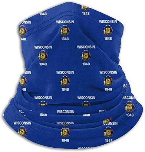 Wisconsin State Flag Pattern Neck Warmer Gamasche Balaclava Ski Cover Cold Weather Face Cover Winter Hats Hüte Kopfbekleidung für Men Women Schwarz