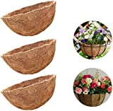ZeeDix 3 Pack 12 Inch Hanging Basket Coco Liners Replacement, 100% Natural Round Coconut C...