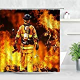 Duschvorhang 3D Feuerwehrmann Feuerwehr Muster Duschvorhänge Wasserdicht Sport Rot Feuerwehrauto Stoff Haken Display Badezimmer Dekor Vorhang