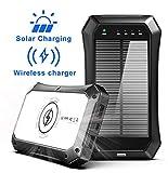 ABFOCE PowerBank Solare 10000mAh Caricabatterie Portatile, Ricarica Wireless Qi, Rapida per Cellulare iPad Tablets, Torcia a 20 LED SOS per Viaggi Campeggio ES986S