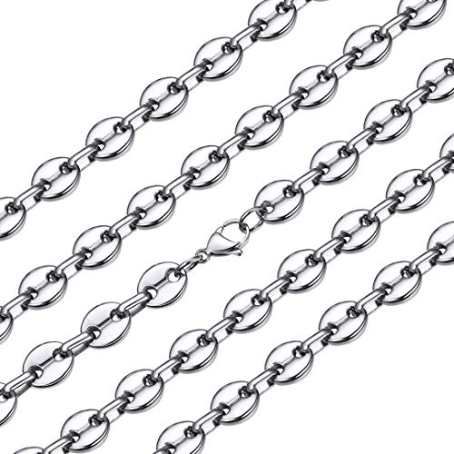 ChainsHouse Men Boys Fashion Jewelry Heavy Chunky Necklace Stainless Steel Thick Hip Hop Punk 10.5 MM Wide Coffee Beans Link Necklace, Send Gift Box, 20'
