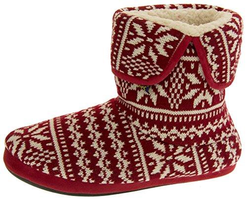 Coolers Herren Fairisle Muster Pantoffel Stiefel Rot EU 45-46