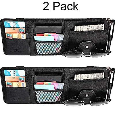 2 Packs Car Sun Visor Organizer, Auto Interior Accessories Storage Pocket Pouch Car Truck Sun Visor Case Bag for Pen CD Card Document (Black)