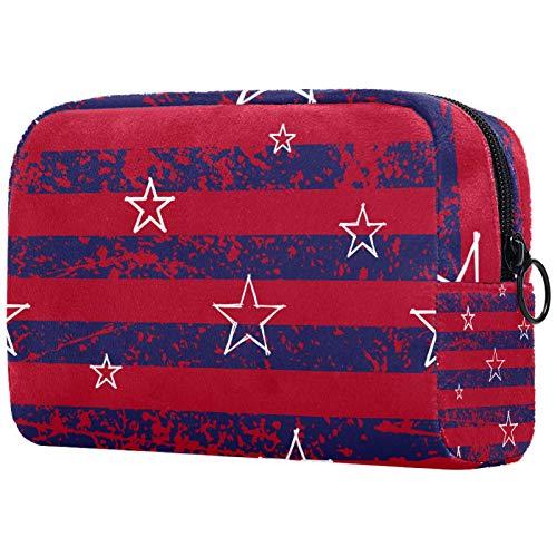 AITAI Bolsa de maquillaje grande bolsa de viaje cosmético organizador rojo azul marino rayas blancas estrellas color bandera de Estados Unidos