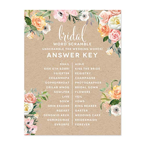 Andaz Press Peach Coral Kraft Brown Rustic Floral Garden Party Wedding Collection, Wedding Word Scramble Bridal Shower Game Cards, 20-Pack