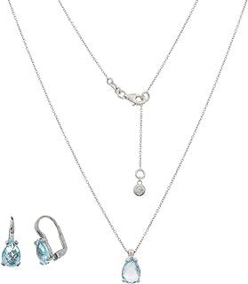Gioiello Italiano - Parure in oro bianco 14kt con topazi azzurri a goccia, collana e orecchini, da donna