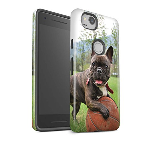 Gloss Phone Case for Google Pixel 2 Popular Dog/Canine Breeds French Bulldog Design Glossy Tough Shock Proof Bumper Cover