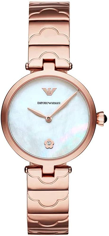 Emporio armani, orologio per donna, in acciaio inossidabile con finitura lucida oro rosa AR11236