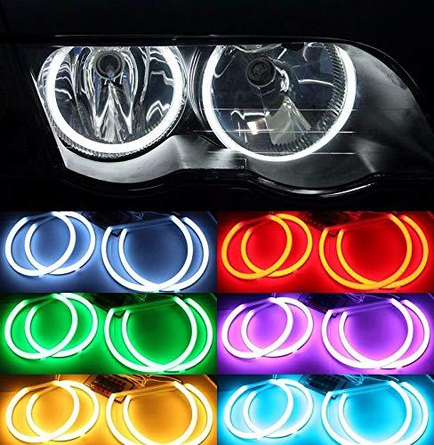 Dinax(TM Kit Cotton RGB LED Angel Eyes Compatible con BMW E46 Faros Sin Proyector o Xenons Aros 2 X 131mm 2 x 145mm