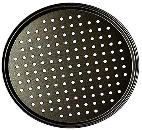 Sartenes para pizza personales perforadas de acero al carbono negro con revestimiento antiadherente Bandeja para hornear pizza fácil de limpiar