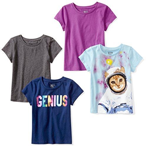 Spotted Zebra Little Girls' 4-Pack Short Sleeve T-Shirt, Space, S