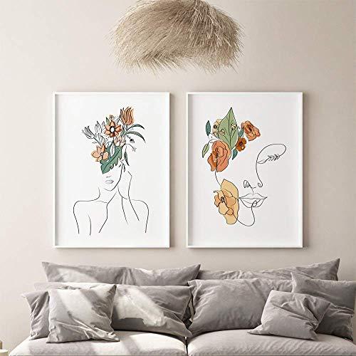mocarrie Cuadro abstracto moderno de la línea de la figura del arte nórdico de la lona de la pintura de la pared del arte del color de las hojas del cartel e impresión para la decoración