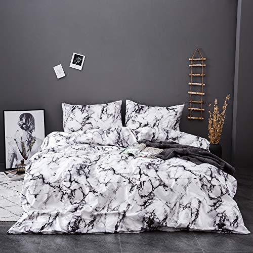 OSVINO Modern Jacquard Washable Skin-Friendly 100% Microfiber Bedding Duvet Quilt Cover Set with Pillowcases, White, Single