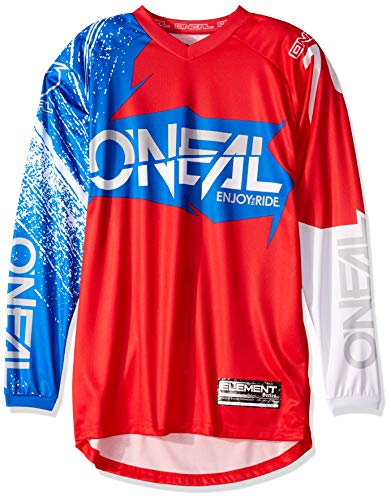 O'Neal Element Burnout MX Motocross Jersey Trikot Shirt Enduro Offroad Gelände Quad Cross Erwachsene, 0008, Farbe Blau Hi-Viz Gelb, Größe M