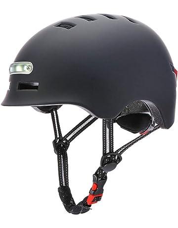 BSTiltion Casco de Bicicleta para Adultos Hombre Mujer Carga USB Resistente a Impactos Casco de Ciclismo con Luces LED Casco de Bicicleta Faro Luces traseras de Bicicleta 3 en 1
