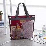 Heng Women Beach Gym Bath Cosmetic Bag Set Makeup Mesh Toiletry Bags Men Wash Organizer Estuche portátil, Rojo