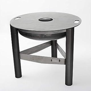 Czaja Feuerschale mit Grillring Durchmesser 98 cm | Feuerstelle mit Grillplatte | Plancha | Grillring, Feuerplatte, Feuerring