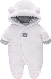 Vine Traje de Nieve Bebé Ropa de Invierno Footed Peleles Mameluco con Capucha Cálido Monos para Niños Niñas, Blanco 3-6 Meses