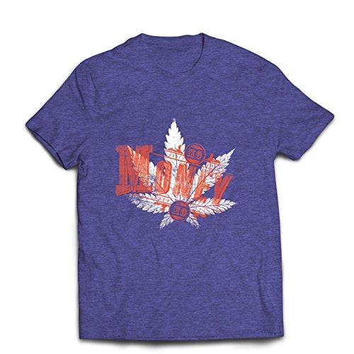 lepni.me Camisetas Hombre Sin Dinero Sin diversión - Hoja de Cannabis - Fumar Hierba - Citas conjuntas - Lema de Marihuana (X-Large Brezo Azul Multicolor)