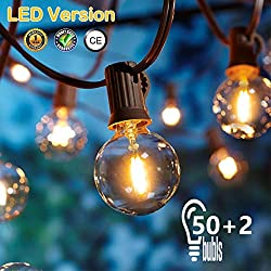 OxyLED LED Fairy Lights Outdoor, S14 Fairy Lights Bulb LED Retro, 15M IP65 Waterproof, 15X2W LED Bulbs E27 Warm White 2500K Lighting for Indoor and Outdoor Decoration Garden Wedding