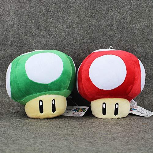 adfw 2 Uds Super Mario Toad Mushroom Verde Rojo Juguetes De Peluche Adornos Suaves Regalos De Cumpleaños Muñecas con Etiquetas para Niños 30Cm