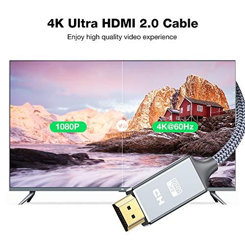 Hdmi Kabel 2Meter 4K@60Hz, Snowkids Highspeed Ethernet 18Gbps,Vergoldete Anschlüsse mit Audio,Kompatibel mit Video 4K UHD 2160p,HD 1080p,3D Xbox PS3/4