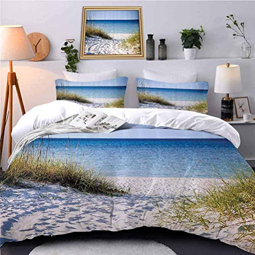 UNOSEKS LANZON Bedspreads Coverlet The Clear Sky Bushes Grasses Windy Sunny Peaceful Gulf of Mexico Breathable Comforter Case Set No Peculiar Smell, Environmental Friendly Fabric - Full Size