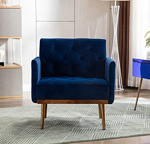 Modern Velvet Single Sofa Chair, Upholstered Accent Living Room Chair, Comfy Armchair with Rose Golden Metal Legs, Tufted Chair for Reading or Lounging (Blue)