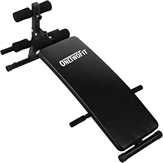 OneTwoFit Arc-Shaped Sit up Bench Ab Bench Crunch Board Slant Board Adjustable Workout Equipment for Toning and Strength Training OT085