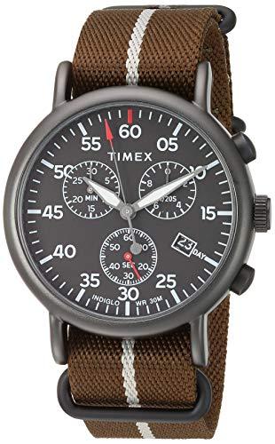 Timex Men's TW2T73600 Weekender Chrono Dark Green/Black Double-Layered Nylon Fabric Slip-Thru Strap Watch