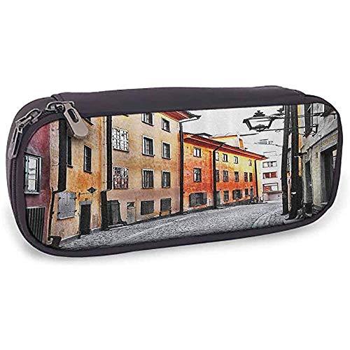 Feste Bleistift Tasche Fernweh Dekor Sammlung Straßen der Stockholmer Altstadt Berühmtes Wahrzeichen Schmales Pflaster Europäisches Bildmuster