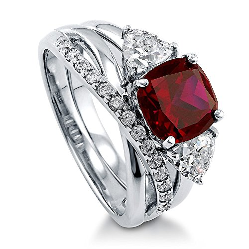 BERRICLE Rhodium Plated Sterling Silver Simulated Ruby Cushion Cut Cubic Zirconia CZ 3-Stone Infinity Engagement Wedding Ring Set 4 CTW Size 8
