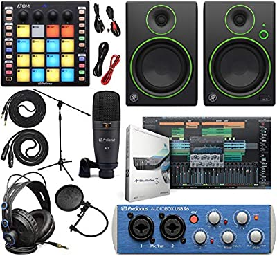 "PreSonus AudioBox 96 Audio Interface Full Studio Kit with Studio One Artist Software Pack w/ATOM Midi Production Pad Controller w/Mackie CR3 Pair Studio Monitors and 1/4"" TRS to TRS Instrument Cable by PreSonus"