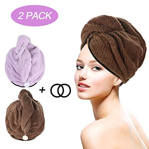 Tencoz Handtuch Kopftuch, 2 Stück Hair Towel Turban Handtuch Haarturban Super saugfähig Schnell Trocknendes Haar Turban Kopfhandtuch mit Knopf Haar trocknendes Tuch für Damen - Braun