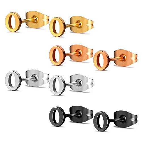 JewelrieShop Initial Letter Stud Earrings Hypoallergenic Alphabet A-Z Girls Earrings for Sensitive Ears S Letter O X 4 Pairs (4 Colors)