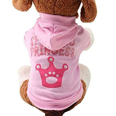 Koly Pet Dog Clothes Crown Pattern Puppy Clothing Coat Hooded Cotton T-Shirt
