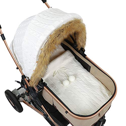 Yunnyp Kinderwagen Fleece Wickeldecke Autositz Baldachin Kinderwagen Wickelsack für Neugeborene