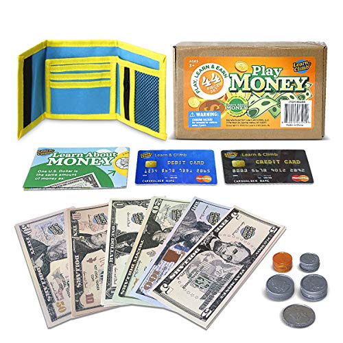 Learn & Climb Play Money Wallet Set for Kids - Bills, Coins, Wallet & Pretend Play Credit Card